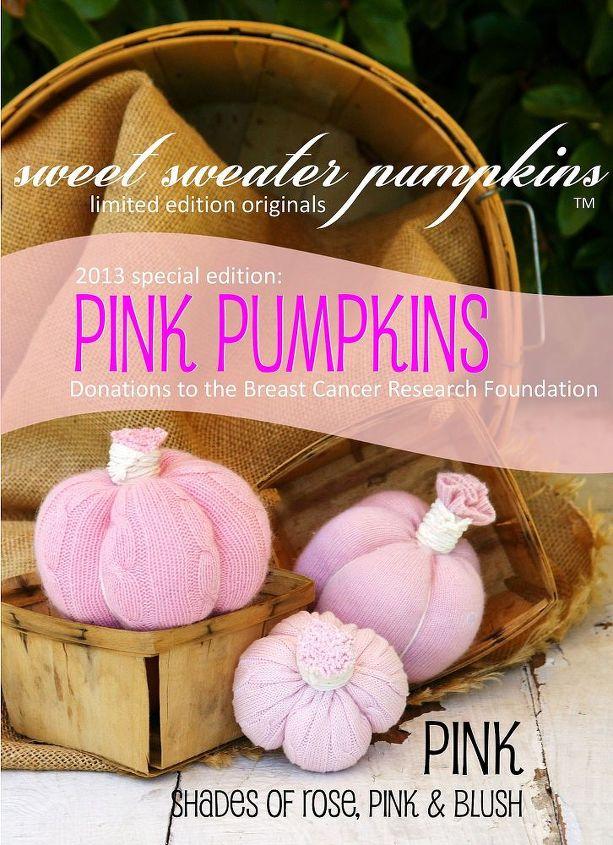 new pink sweet sweater pumpkins, crafts, repurposing upcycling, seasonal holiday decor, NEW for 2013 PINK Sweet Sweater Pumpkins Available September 1 from HOMEWARDFoundDecor com and Shabbyfufu com