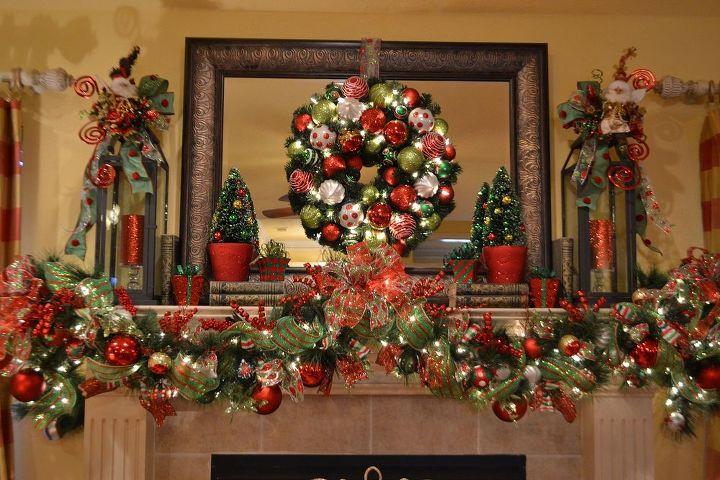christmas mantle 2013, christmas decorations, seasonal holiday decor, wreaths