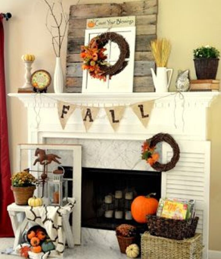 So many great fall things in this mantel from The Frugal Homemaker