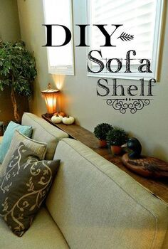 diy sofa shelf easiest solution for a common problem, diy, living room ideas, painted furniture, shelving ideas, woodworking projects, This couch would have sat directly on the floor vent
