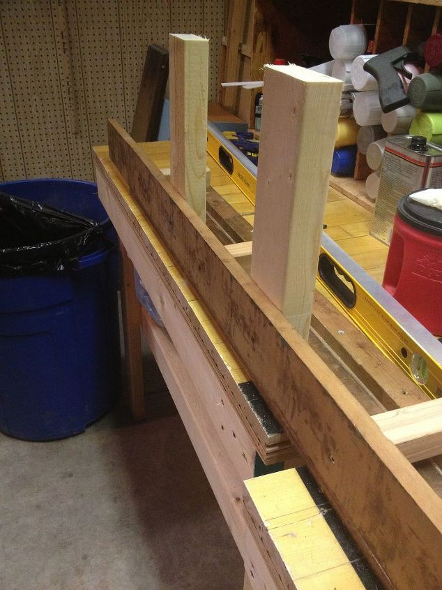 We used one of the sideboards of the bed frame to connect the two sides of the foot board.