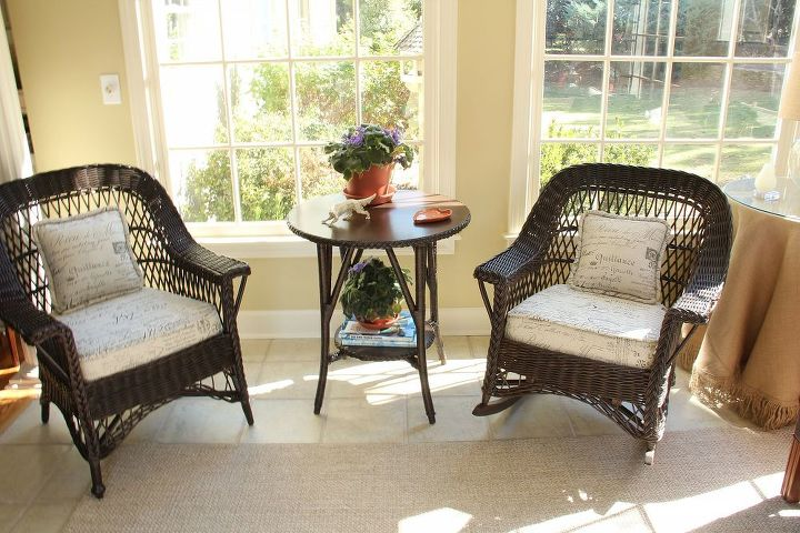 empty nesters downsize blending old with new, home decor, living room ideas, outdoor furniture, painted furniture, After