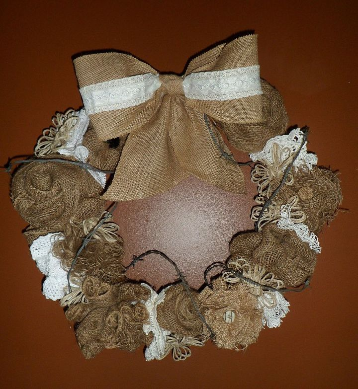 Burlap, lace and barbed wire garland.