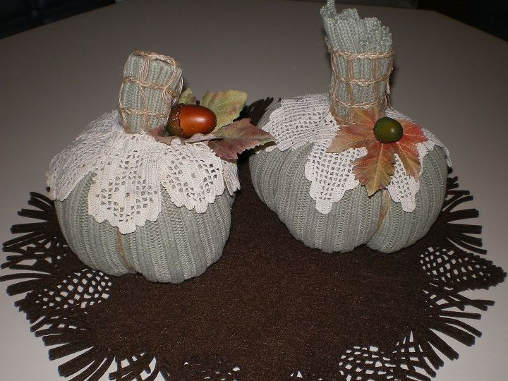 sweater pumpkins with vintage lace, crafts, seasonal holiday decor, I cut off the sweater sleeve and tied one end with a rubber band The other end I basted all the way around I filled it with fiberfill and put beans in the bottom for weight I then tightened the basting thread to close the bottom