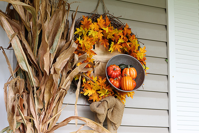 fun and festive fall porch, curb appeal, gardening, outdoor living, seasonal holiday decor, wreaths, My DIY fall wreath