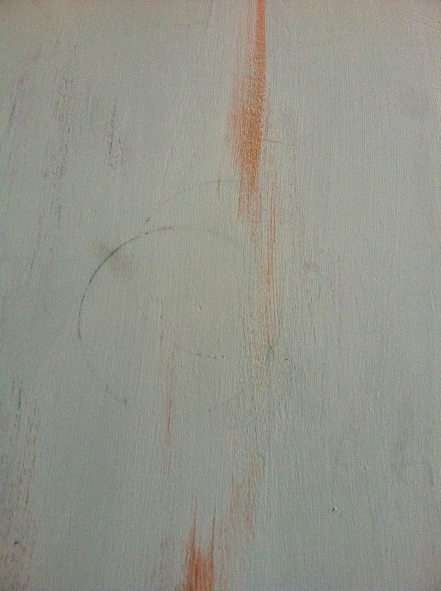 how to fix watermarks on painted furniture, painted furniture, woodworking projects, Here is a water ring that started to appear after my first coat of paint