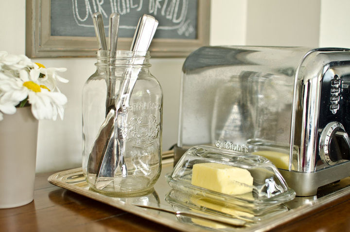 Organize a toast-making station using a pretty tray.