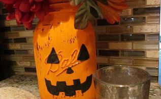 pumpkin mason jar, crafts, halloween decorations, mason jars, repurposing upcycling, seasonal holiday decor