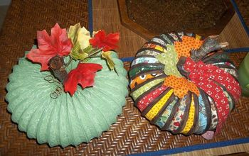 pumpkin made from dryer vent hose and fabric tutorial, crafts, repurposing upcycling, seasonal holiday decor, with her pumpkin sister