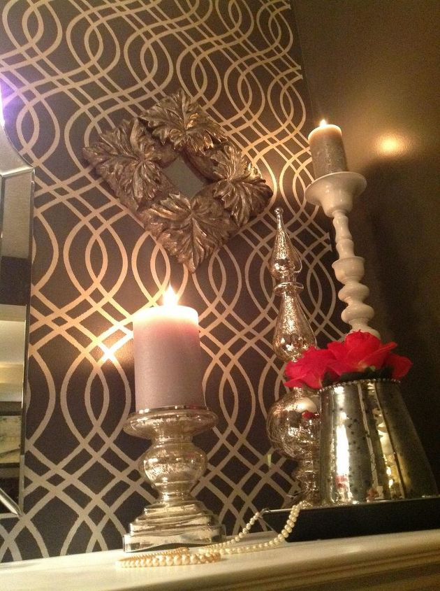 closet makeover into glam dressing room stenciled feature wall, home decor, paint colors, painting, wall decor
