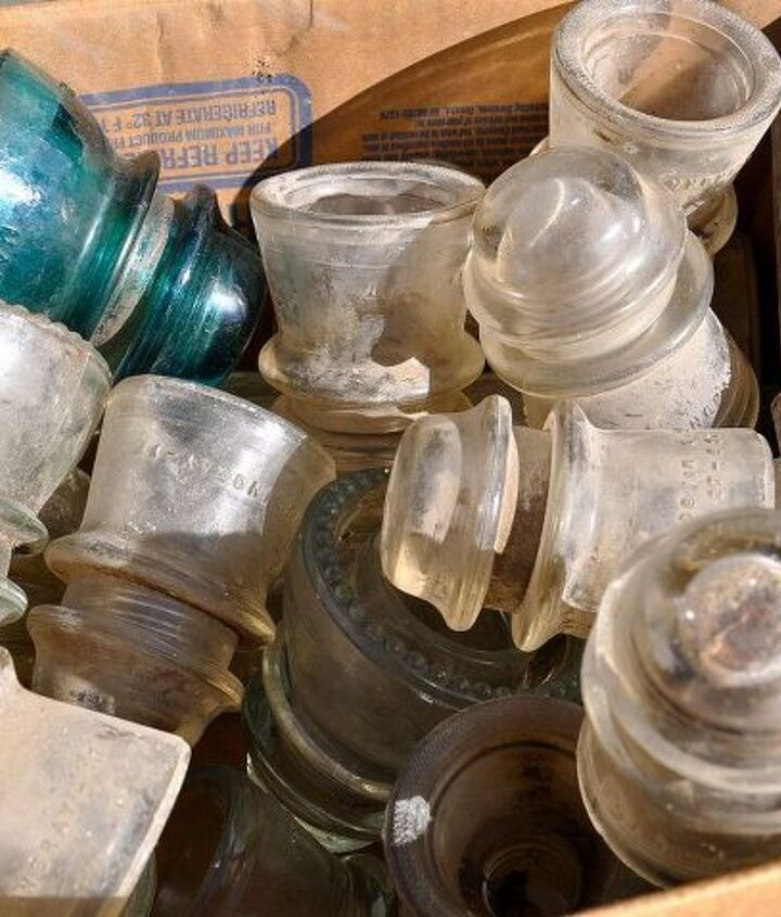 Here is a box of insulators I bought at an Antique Store. Really dirty.