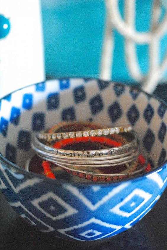 Favorite bowls in pretty patterns are the perfect size to store bracelets and bangles.