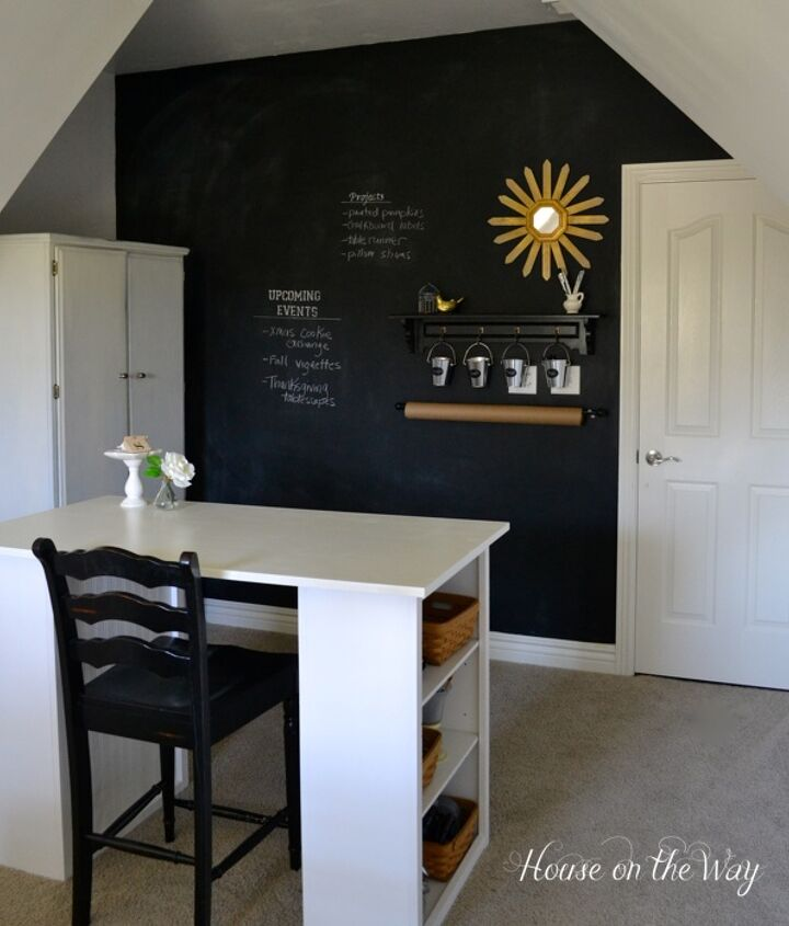 Chalkboard wall in the home office/craft room.