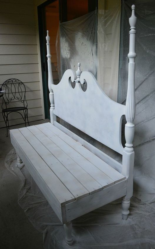 we made a bench from a headboard that was discarded, diy, painted furniture, repurposing upcycling, woodworking projects, This only has a coat of Kilz on it but will be painted white