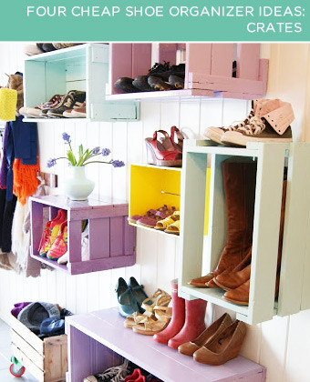 Crates. Wine crates can do more than store delicious malbecs and merlots – they're also attractive, stackable and the perfect depth for shoes. To find enough crates to hold your shoe collection, visit a local liquor store.