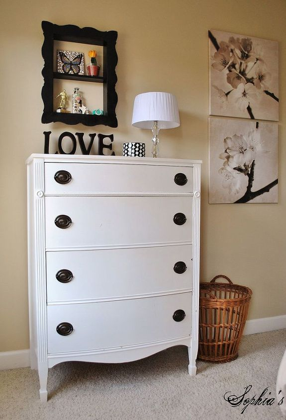 Craig's List dresser and vanity painted solid white