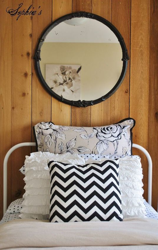 Layered bedding and $5 yard sale mirror