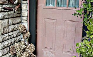 small house front door fall decor, doors, seasonal holiday decor, wreaths, The small stoop to The Small House decorated for autumn I adore the salmon color of our front door paint