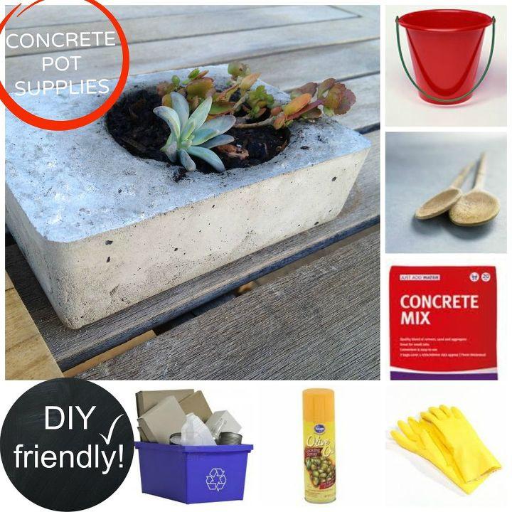 diy concrete planters, concrete masonry, container gardening, diy, flowers, gardening, how to, succulents, DIY concrete planter supplies