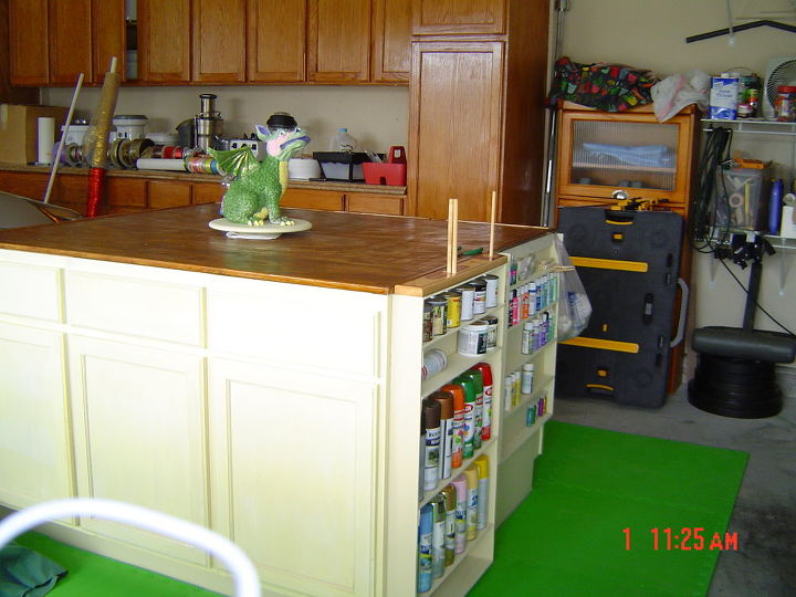 craft center, craft rooms, painted furniture, Three cabinets on the front and three on the back We decided to use the side for storage as well