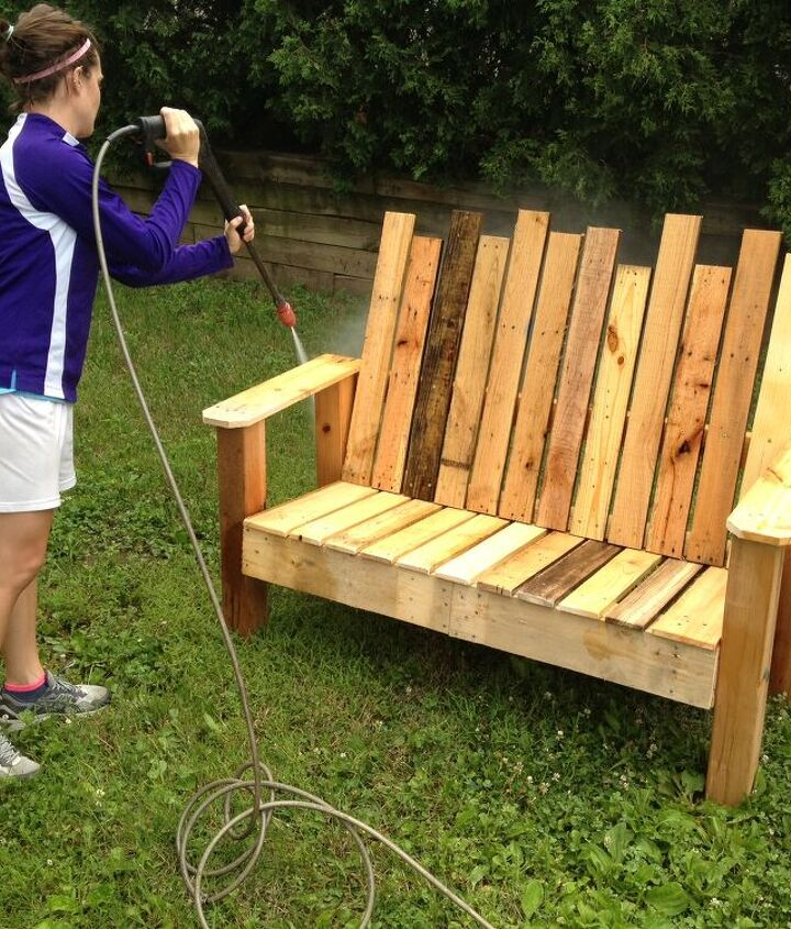 5. Power-wash & stain.  Repurposed Pallet into a Do-It-Yourself Bench.