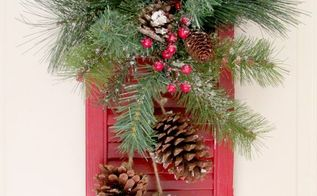 old shutter christmas door decoration, christmas decorations, repurposing upcycling, seasonal holiday decor, Finished product Hung on the door Hope you like it I do