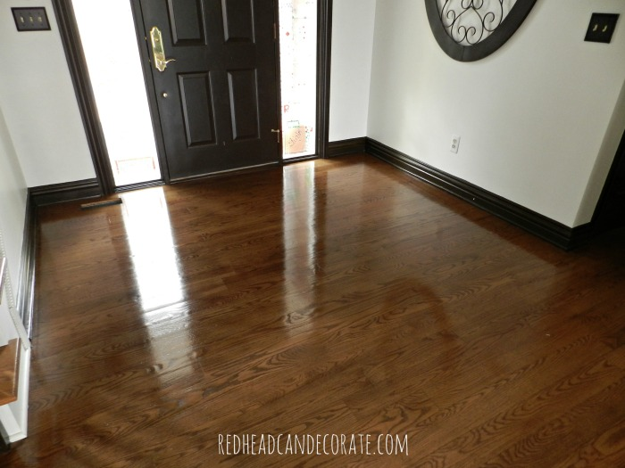 no sanding no mess non toxic less expensive wood refinishing part 2, flooring, woodworking projects, this is after Our floors were tired looking and needed help but we didn t want to spend a fortune