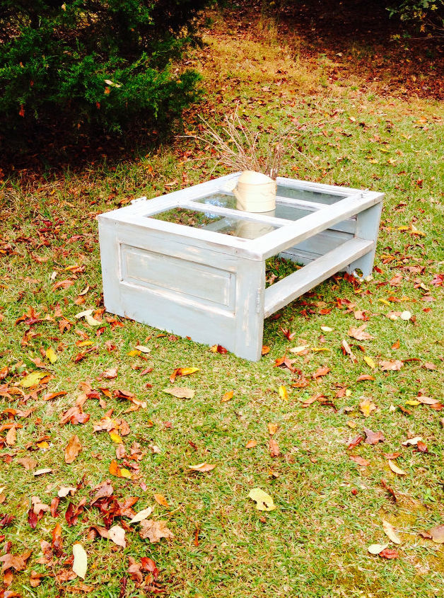the old door coffee table a fast seller, painted furniture, repurposing upcycling, The door coffee table By far the easiest coffee table for me to sell You can take any old door cut the bottom off then cut that in half and attach it So easy but I do suggest a support beam to stabilize it