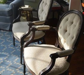 Re Upholstered Red And Blue Chevron Chairs, Painted Furniture, Reupholster,  Before