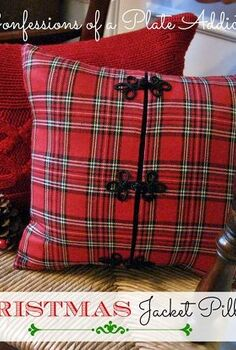 fun and cozy christmas pillow from a jacket, crafts, repurposing upcycling, seasonal holiday decor, The frog closures on the jacket and the festive plaid make a perfect Christmas pillow