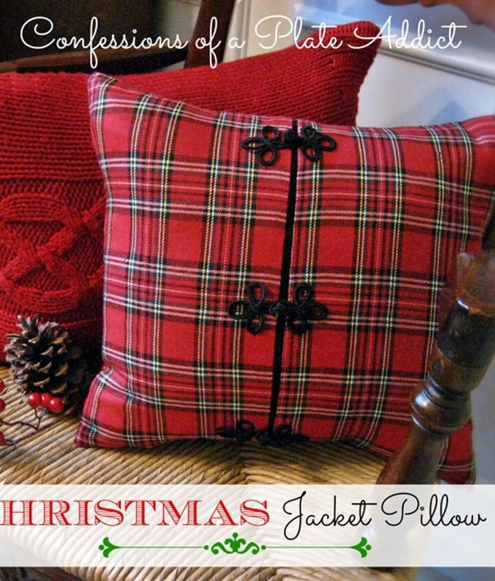 The frog closures on the jacket and the festive plaid make a perfect Christmas pillow!