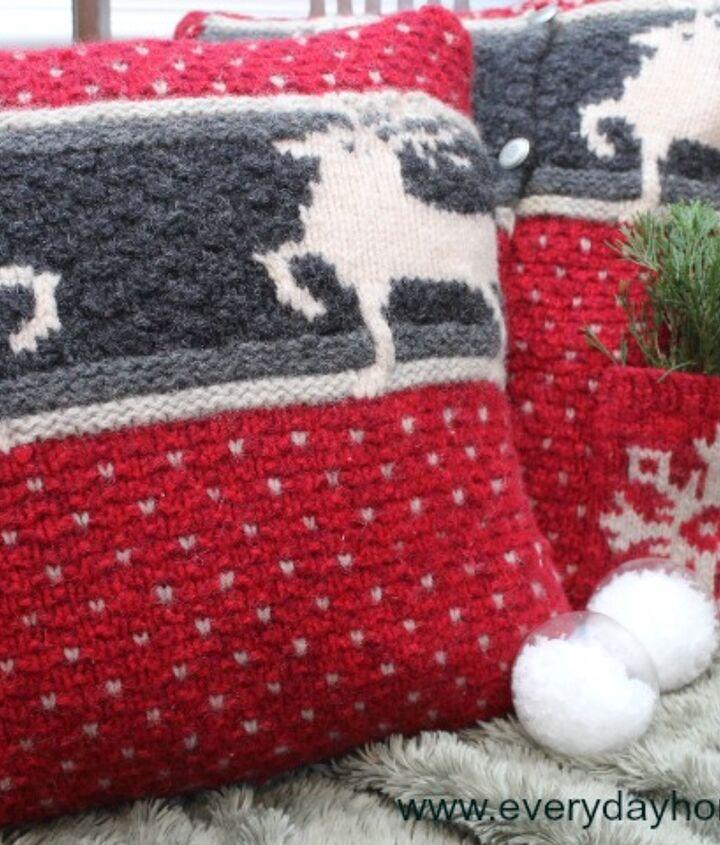 The deer design was also on the back of the sweater.  That is why I decided to create two pillows.
