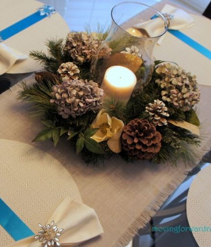 An old wreath was updated as a centerpiece.