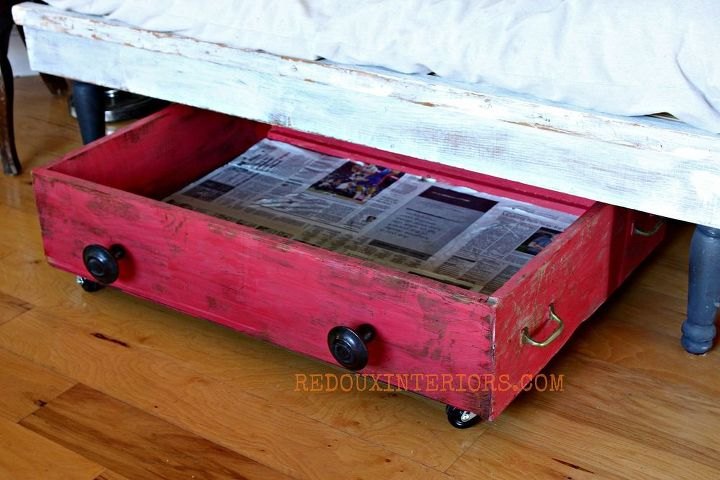 I painted the exteriors with CeCe Caldwells paint. Lined the inside with newspapers and used several coats of Mod Podge to seal them.  I can easily wipe the bottom of the drawer, and the newspapers were free.