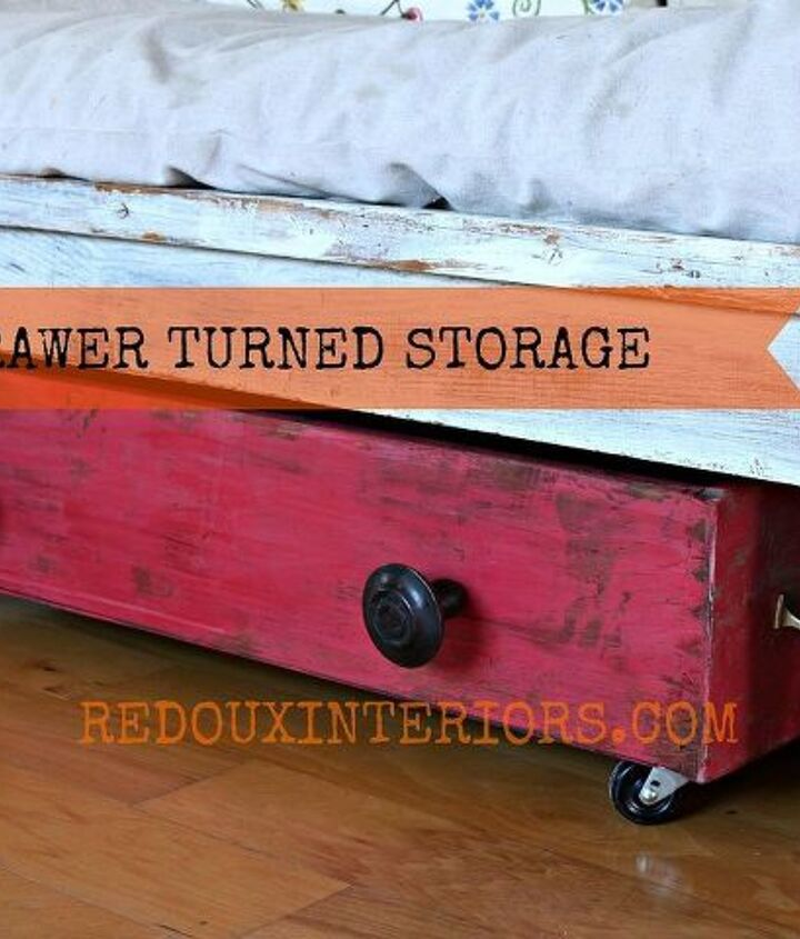 I used an old drawer I found in an industrial area.  Added Wheels, oversized knobs.  Hides my family's shoes perfectly!