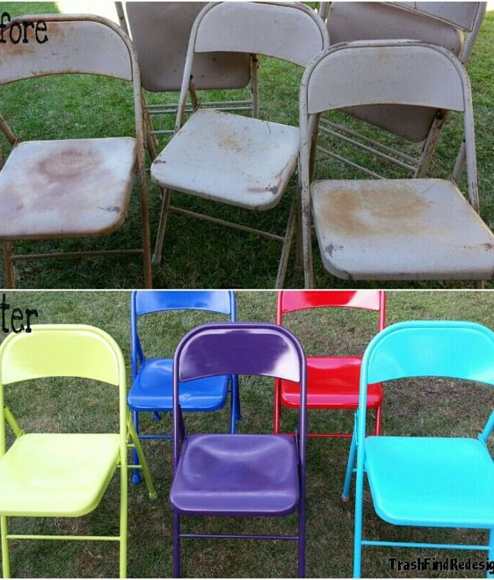 A little sanding and spraying brightened up these vintage metal folding chairs
