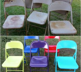 Up Cycled Brightened Vintage Metal Chairs, Painted Furniture, A Little  Sanding And Spraying Brightened