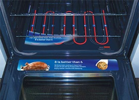 The Bake Element is located at the bottom of the oven.