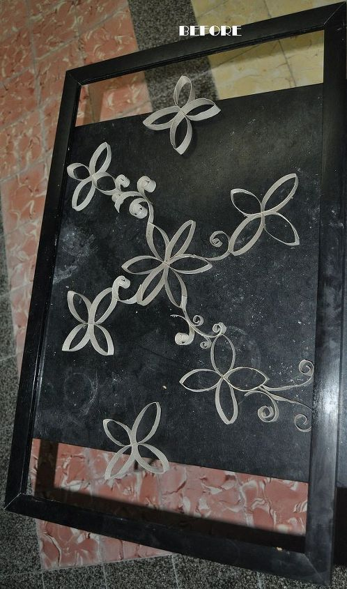 stuff i make, crafts, diy, painted furniture, old picture frame and toilet paper rols BEFORE