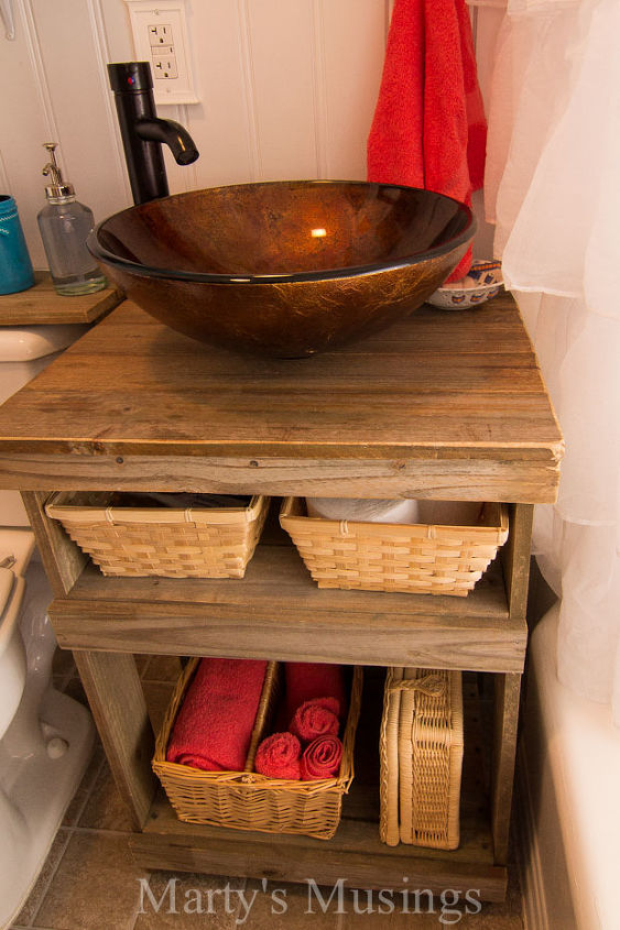 fence board bathroom cabinet, bathroom ideas, diy, home decor, repurposing upcycling, small bathroom ideas, woodworking projects