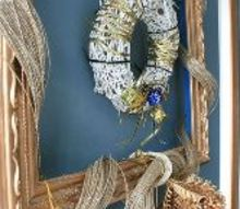 how to frame a wreath for the holidays, christmas decorations, crafts, seasonal holiday decor, wreaths, Framed Gold and White Wreath for the Holidays