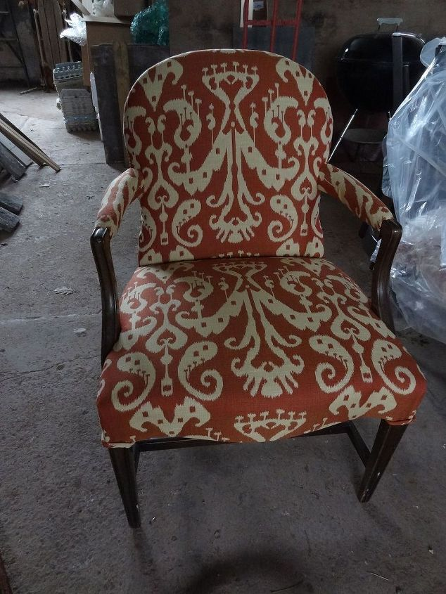 uber upcycler and fairy god mother of re upholstery, painted furniture, reupholster, window treatments, a yummy ikat transformed two dining chairs into works of super comfy art