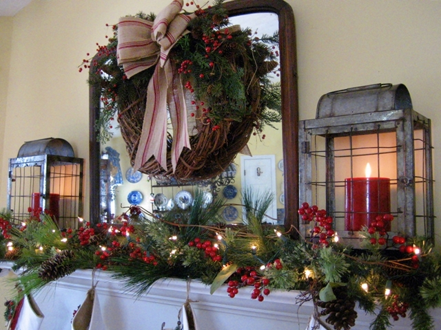 My Farmhouse Christmas Mantel Decorations Seasonal Holiday Decor Wreaths Lots Of