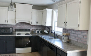 diy kitchen makeover, diy, home decor, home improvement, how to, kitchen backsplash, kitchen design, Painted upper and lower cabinets added molding and built range hood concrete countertops