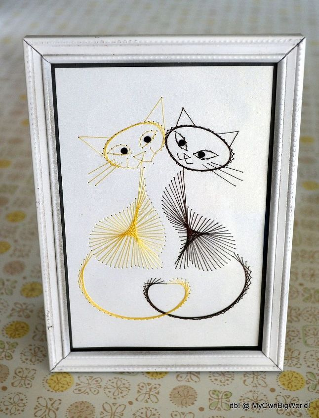 kitty string art love, crafts, home decor, Cuddle with these two cuties