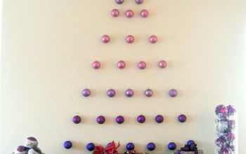 ornament wall tree, seasonal holiday d cor, Ornament wall tree using unbreakable glitter ornaments and Command Strip Clips