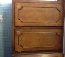 q how to refurbish 47yr old custom made cupboards, diy, how to, painted furniture, Notice the different shades other wise in excellent condition
