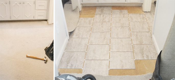 Grouted Vinyl Peel Stick Tile Hometalk - Cheap stick down flooring