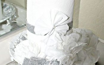 decorating your bathroom for christmas with tp, bathroom ideas, crafts, diy, how to, seasonal holiday decor, Tp placed on silver tray with Epson salt as snow Cake plate decorated wit silver ribbon and Tp flowers sprayed with glitter silver spray paint