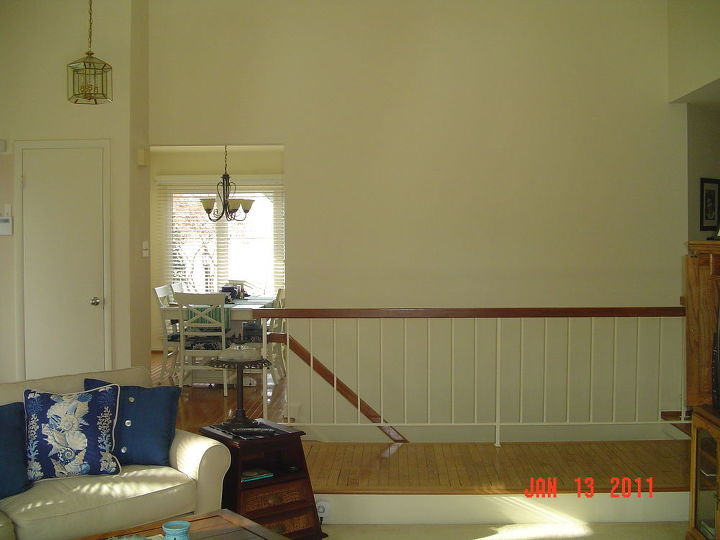 q suggestions for a huge wall from vaulted ceiling to lower level, home decor, home improvement, home maintenance repairs, how to, wall decor, What can I do to this big blank wall